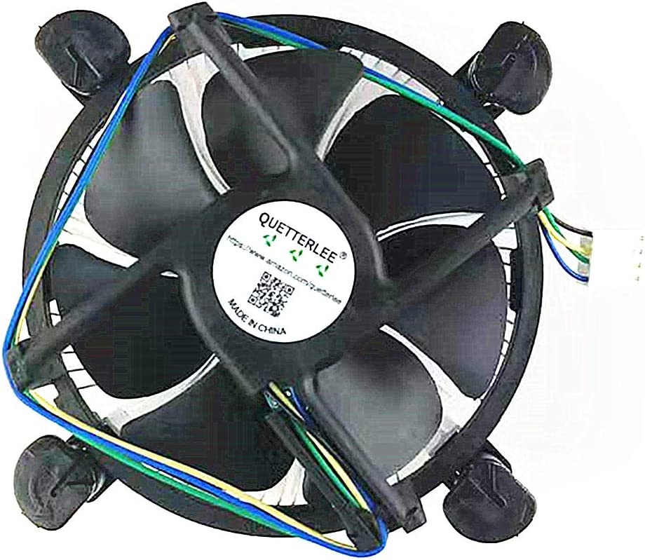 QUETTERLEE Replacement New heatsink and CPU Cooling Fan for Intel i3/i5/i7 lga 115x 1150 1151 1155 1156 Series E97379-003 CNDP751K50 DTC-DAB16 12V 0.60A 4-PIN 3.5-Inch Fan