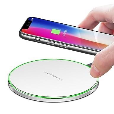 Rápido Cargador Inalámbrico, lamyik Ultra Thin portátil Qi carga inalámbrica Pad [sobrecarga protección] [sleep-friendly] carga rápida para iPhone X ...