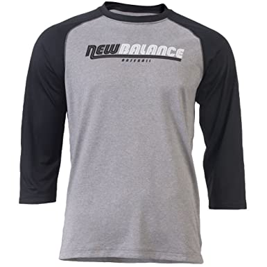 09feec49d7583 Image Unavailable. Image not available for. Color: New Balance Mens 3/4  Sleeve Raglan T-Shirt Black/Grey 2Xl