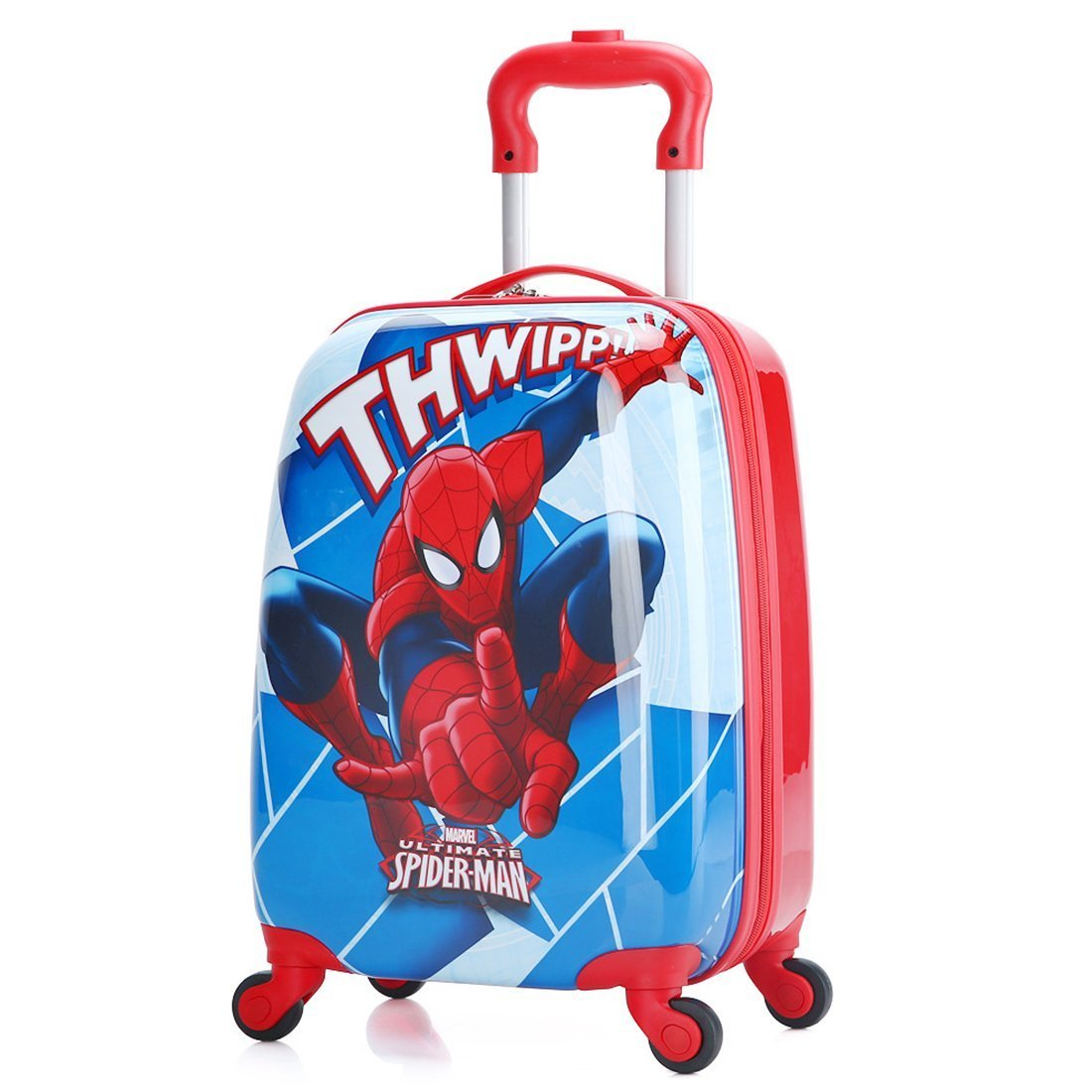 MOREFUN Spiderman Kid's 18 Inch Carry on Luggage Hard Side Spinner Suitcase Travel