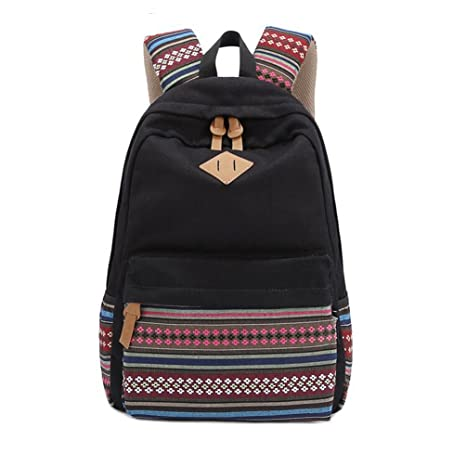 Image Unavailable. Image not available for. Color  Stripe Canvas School  Backpack College Campus Bag Rucksack Satchel Travel ... b8f7707c8da04