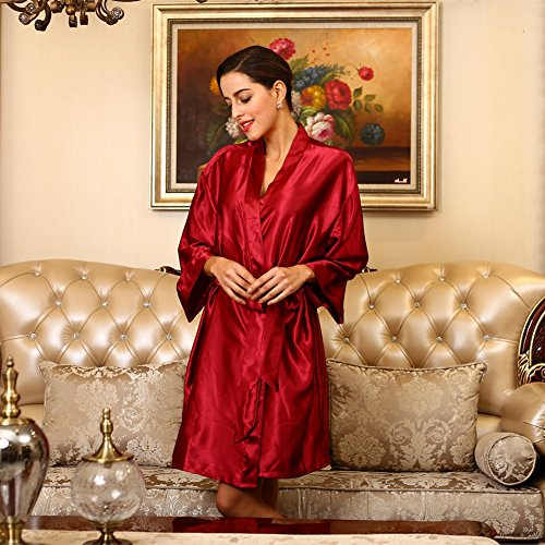 SUNBABY Women Silk Satin Nightgown Short Kimono Robe Sexy Sleepwear Fashion Dressing Gown Big Size (Red) by SUNBABY (Image #4)
