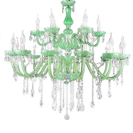 Cristal Lámparas Verde Vidrio Luces Colgantes Vela Luces ...
