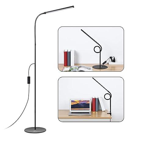 ACCEWIT Lámpara de pie LED Regulable Lámpara 2 en 1 Lámpara de clip 8W 72 Blanco cálido y blanco natural Protección ocular LED Lámpara de ...