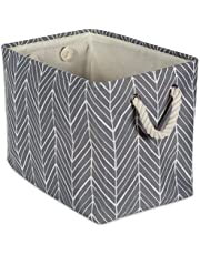 DII Collapsible Polyester Storage Basket or Bin with Durable Cotton Handles