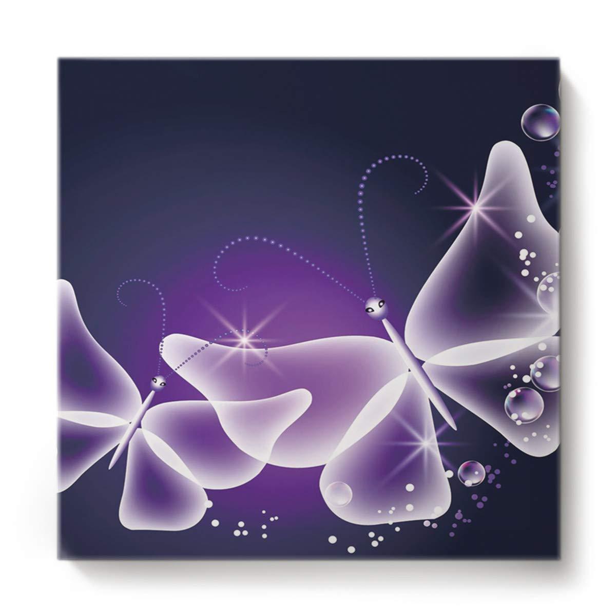 正方形キャンバスウォールアート 油絵 寝室 リビングルーム ホーム装飾 かわいいトンボ ピンクリーパターン オフィスアートワーク 木製フレームで枠張り済み すぐに掛けられる 16 x 16 Inch 201810220NAAYAGYAGGSLEO00822NAABYAG 16 x 16 Inch Butterfly4yag0728 B07M97KL3F
