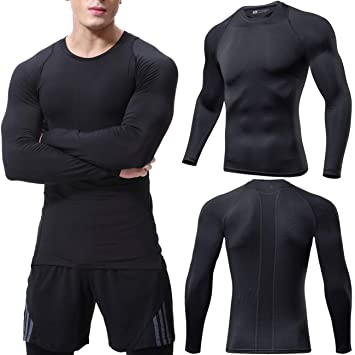 Lavento Men's Compression Shirts Crewneck Long-Sleeve Dri Fit Workout Shirts