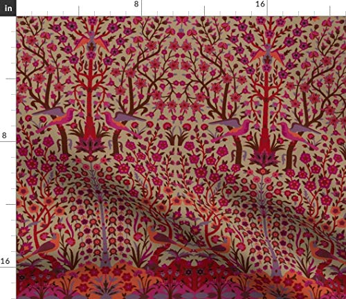 Persian Fabric - Garden Of Paradise Vintage Damask Turkish Moroccan Indian Renaissance Islamic Print on Fabric by the Yard - Basketweave Cotton Canvas for Upholstery Home Decor Bottomweight ()