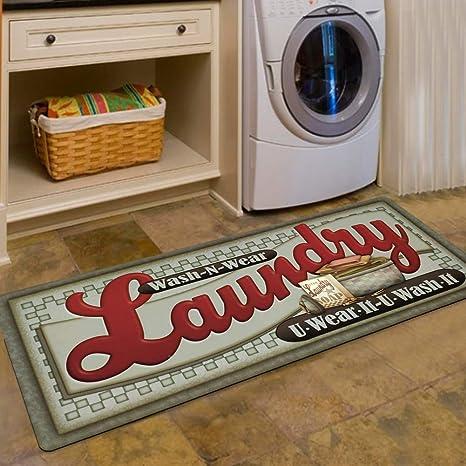 Ustide Loads Of Fun Rug For Laundry Room Nonslip Rubber Backer Mat Floor Runner Durable Carpet Waterproof Kitchen Mats 20x48 1pc