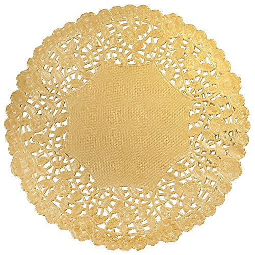 Paper Lace Doilies 50 pc (5 IN, Gold) by Well Groomed