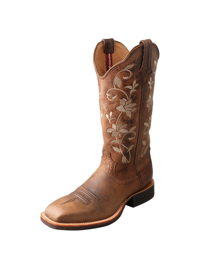 Twisted X Women's Floral Ruff Stock Cowgirl Boot Square Toe Brown 6 M US