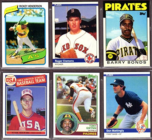 1993 Barry Bonds (1980's (6) Card Rookie Reprint Lot #2***Rickey Henderson, Tony Gwynn, Don Mattingly, Roger Clemens, Mark McGwire, Barry Bonds )