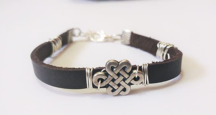 Celtic Knot Anklet For Women Soft Leather Ankle Bracelet Wrap With
