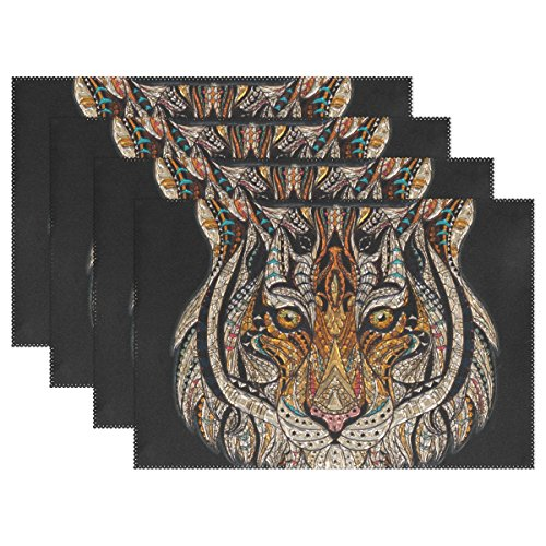DNOVING Tiger Head Metallizer Art Glass Factory Placemats Set Of 4 Heat Insulation Stain Resistant For Dining Table Durable Non-slip Kitchen Table Place Mats ()