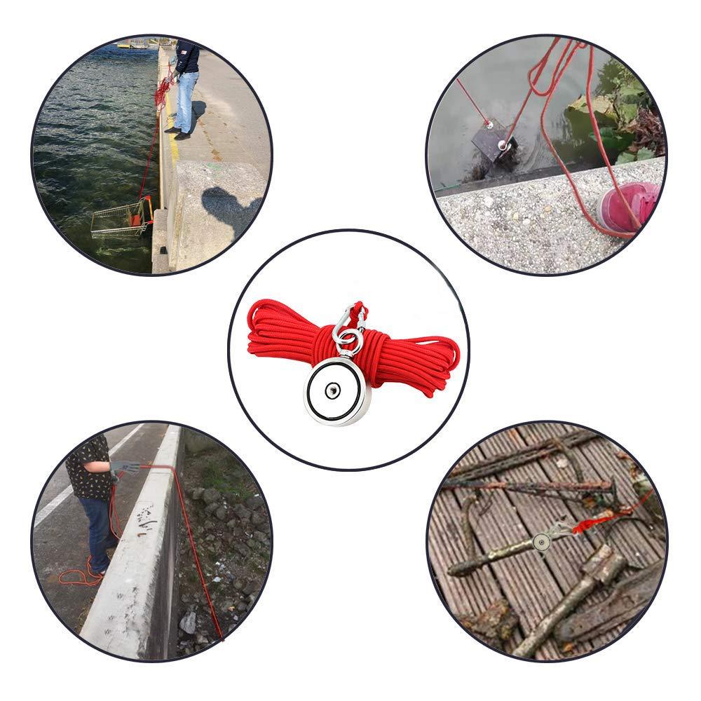 diametro 60mm 300kg magneti da pesca con corda da 20m per la caccia al tesoro subacquea e il recupero di oggetti colla per filettare guanti include forte magnete corda Magneti Neodimio Potenti