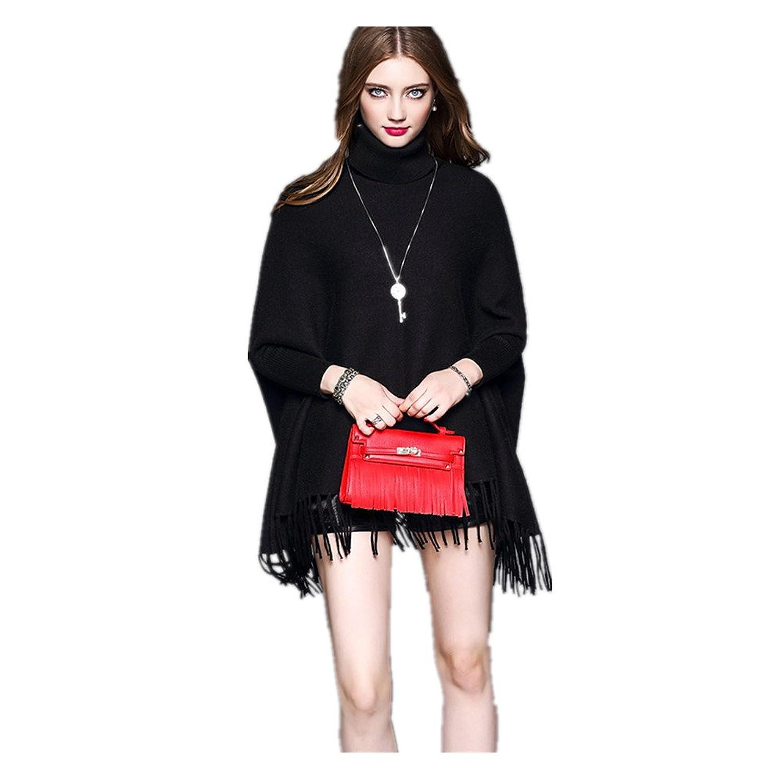 Jasanplay Vi Korean Women Pullover High Collar Solid Color Tassel Sweater