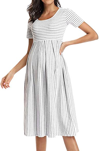 Vestidos de Mujer Moda Rayas Vestido de Maternidad Women Dress de ...