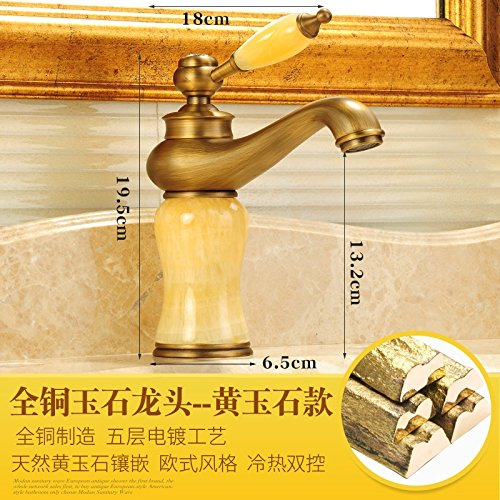 The Yellow Jade) LHbox Basin Mixer Tap Bathroom Sink Faucet Antique faucet hot and cold full continental antique copper bathroom sink jade faucet wash basin mixer, Coffee Stone)