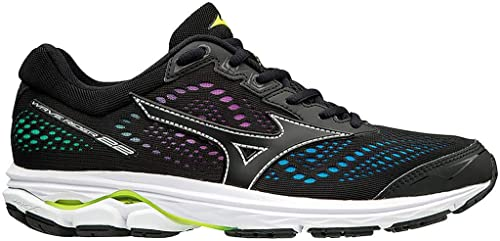 Mizuno Wave Rider 22 Osaka, Zapatillas para Mujer, Black/Safety Yellow 001,