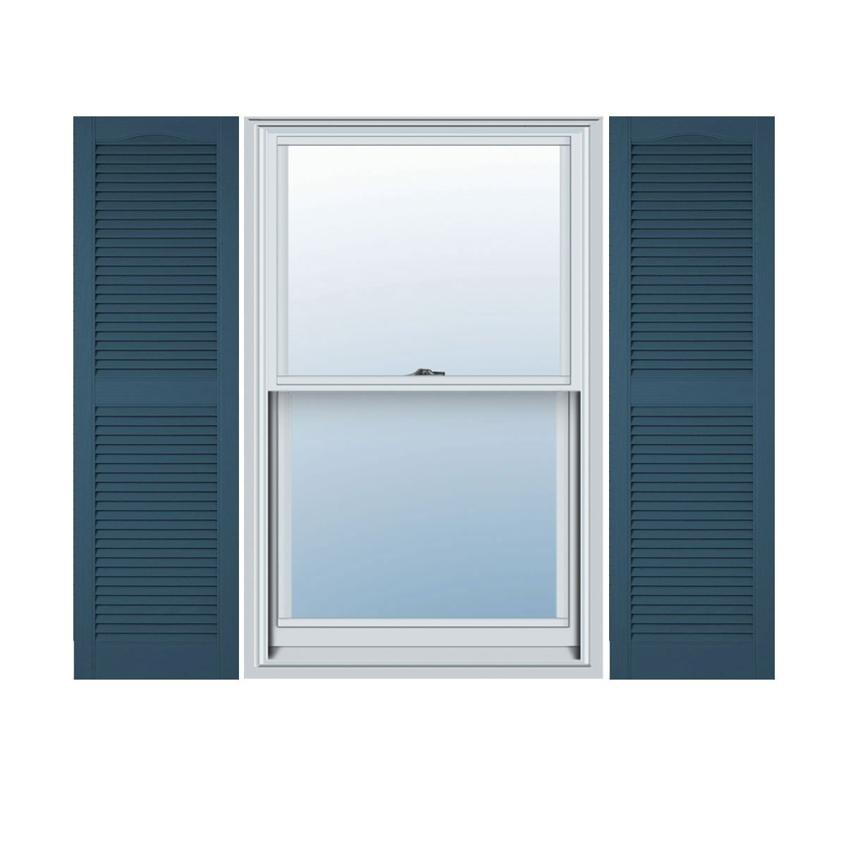 Ekena Millwork LL1S12X04300CB Lifetime Vinyl, Standard Cathedral Top Center Mullion, Open Louver Shutters, w/Installation Shutter-Lok's & Matching Screws (Per Pair), 12'' W x 43'' H, Classic Blue
