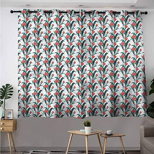Fbdace Blue Curtains for Living Room Romantic Pastel Garden Tulips Energy Efficient, Room Darkening W 72