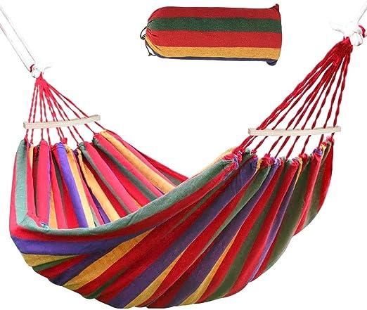 Comprar Ertisa Hamaca de Algodón, 220x120CM Hamacas Grande para Jardín al Aire Libre Cama Portátil de Lona con Cuerdas para Acampar Capacidad de 200 Kg Peso Ligera con Bolsa