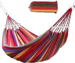 Ertisa Hamaca de Algodón, 220x120CM Hamacas Grande para Jardín al Aire Libre Cama Portátil de Lona con Cuerdas para Acampar Capacidad de 200 Kg Peso ...