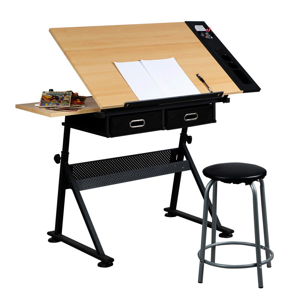 Tilting Tabletop Height Adjustable Drawing Desk with Padded Stool 2 Spacious Drawers Tools Storage Painting Drafting Writing Reading Study Table Draftsman Art Craft Hobby Studio Architect Office Work by HPW (Image #1)