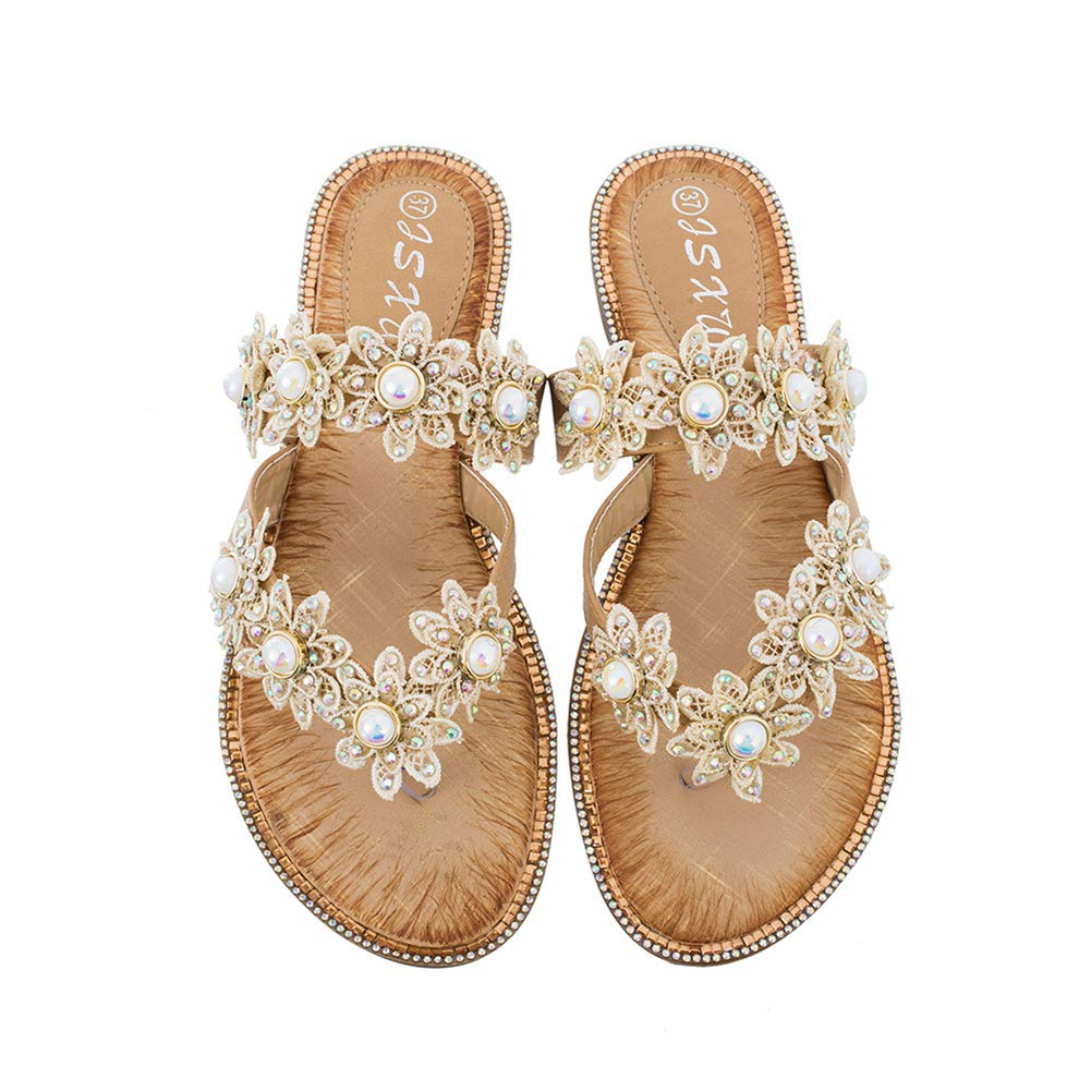 Women's Jeweled Pearl Gold Flower Flip Flops Sandals - DeluxeAdultCostumes.com