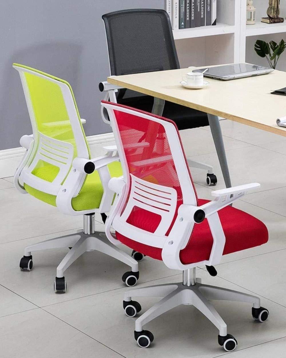 THBEIBEI Mesh dator kontorsstol med ländrygg stöd andas nät ryggstöd ljus kontorsstol hopfällbart armstöd och nylonbas bärande vikt 120 kg (färg: Röd) gRÖN