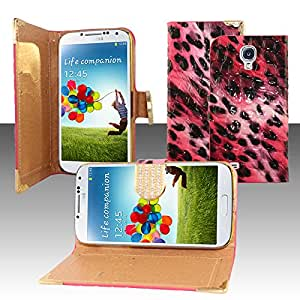 For Samsung Galaxy S4 i9500 - Horizontal EXCLUSIVE DIAMOND Flap Pouch w/ Credit Card Pockets - Hot Pink Leopard ECFHP