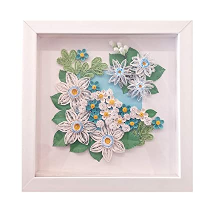Quilling Paper Art Decor Modern 3d Quilled Flowers Home Decoration Framed Beautiful Floral Wall Hanging Artwork 100 Handmade