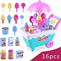 Ice Cream Cart Play Set,Hamkaw Mini Pretend Play Kit With Storage Bucket Safe Funny Pushable Toddler Home Candy Play Truck Toy Party Game Gift For Kids Boys Girls - 3 Years Old