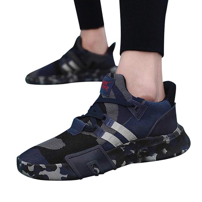 JiaMeng Hombre Zapatillas de Senderismo Deportivas Aire Libre y Deportes Que se Ejecutan Transpirable Zapatos de Cordones de Camuflaje Planos: Amazon.es: ...