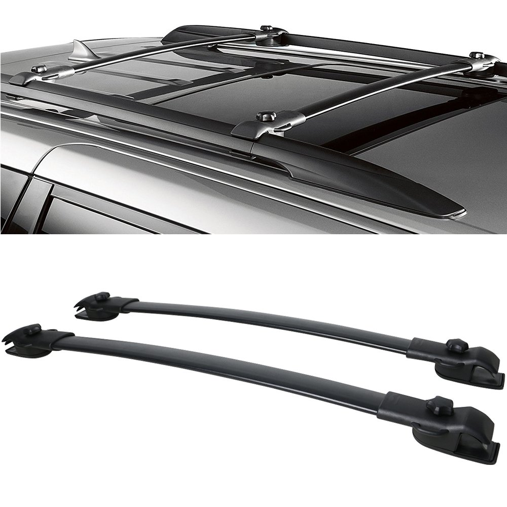 Roof Rack Cross Bars Fits 2011-2017 Toyota Sienna | OE Style Aluminum Black by IKON MOTORSPORTS