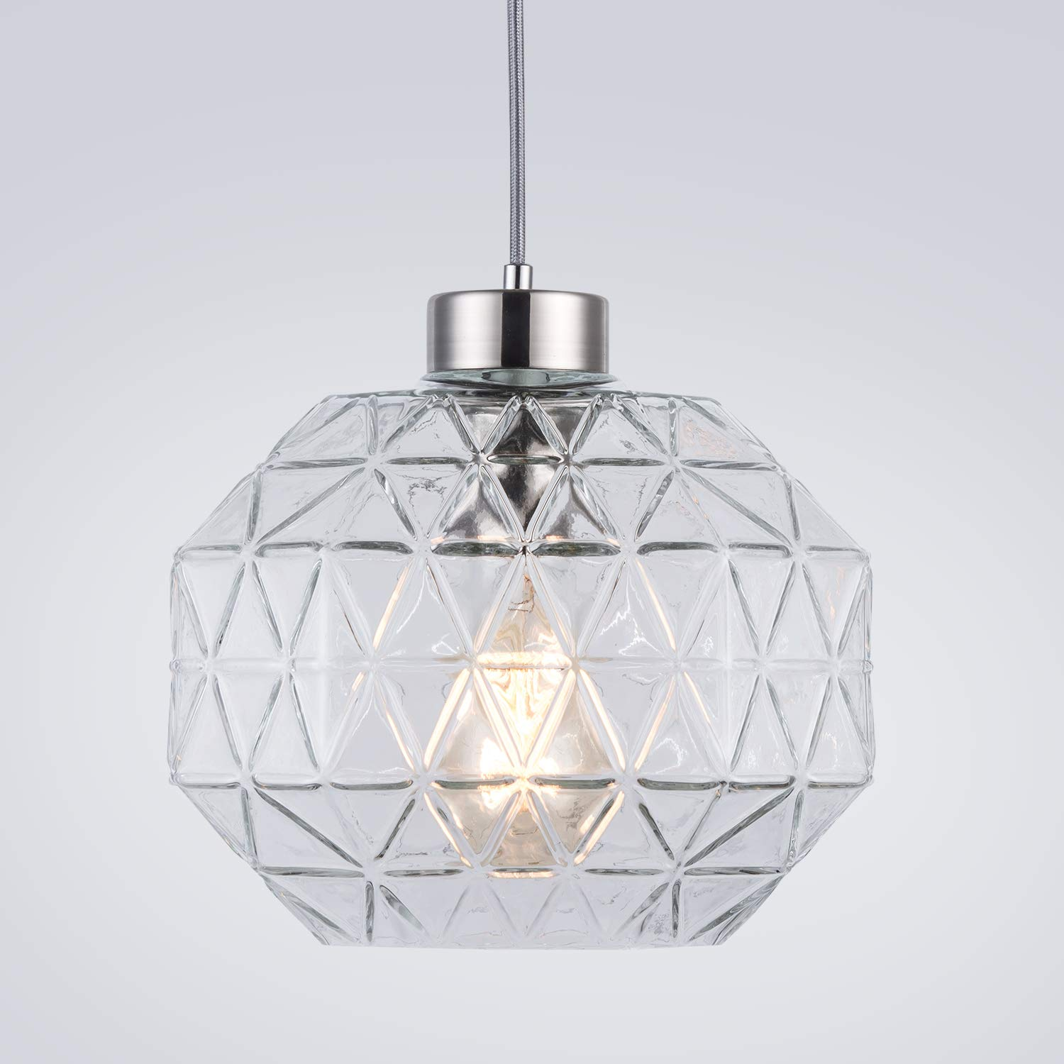Contemporary Pendant Light Handblown Clear Glass Shade Drop Ceiling Lights, Brushed Nickel Hanging Light Fixture for Kitchen Island Dining Room,1 Light
