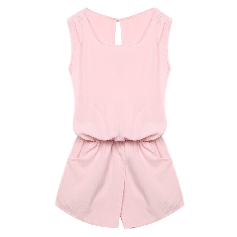 nboba jumpsuits Jumpsuit Women Playsuit Backless Elastic Waist Mini Romper Overall Pink L