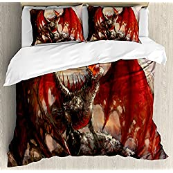 Ambesonne Fantasy World Duvet Cover Set, Majestic Dragon Resting on Mountain Mythological Fire-Spewing Creature Print, 3 Piece Bedding Set with Pillow Shams, Queen/Full, Multicolor