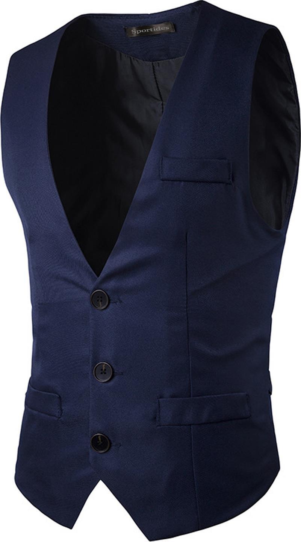 Sportides Mens Waistcoat Gilet Business Gentleman Vest Suits Blazer JZA005 Navy M