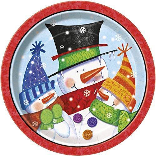 23cm Snowman Buddies Christmas Party Plates by Unique Party by Unique Party