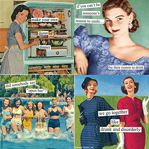 Women Cocktail Napkins Funny Ann Taintor Variety Pack 60 total paper napkins -