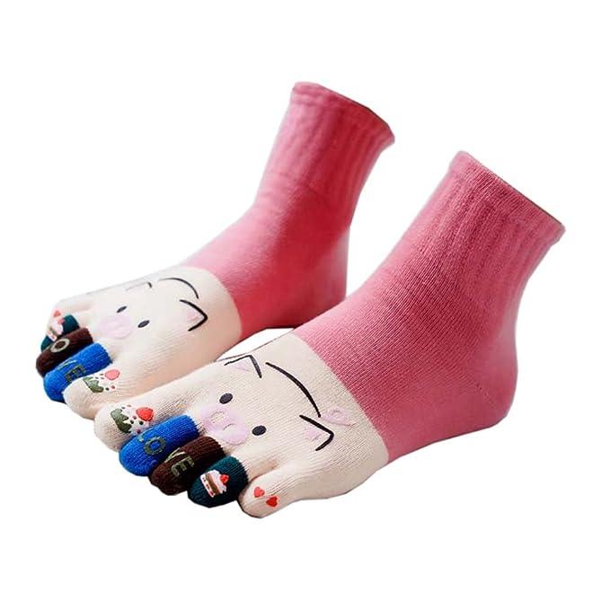 Cute Cartoon Design Women Five Toes Finger Socks calcetines casuales de invierno para mujeres, #