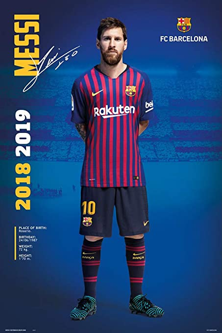 379d13217 Amazon.com: FC Barcelona - Soccer/Sports Poster/Print (Lionel Messi Posing  - Season 2018/2019) (Size: 24