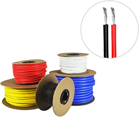 16 AWG Gauge Silicone Wire Spool Fine Strand Tinned Copper 100/' each Red /& Black