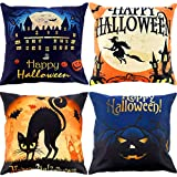 Gejoy 4 Pieces Happy Halloween Pillow Case Linen Cushion Cover with Moon Bat Cat Witch Pumpkin Elements, 18 by 18 inch