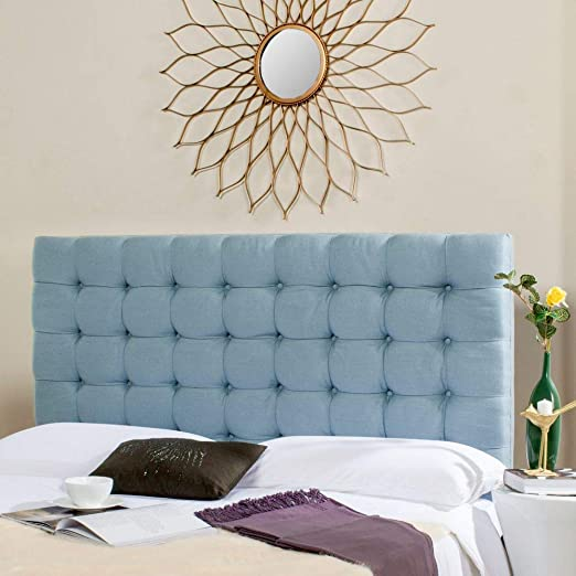 Amazon Com Safavieh Lamar Slate Blue Upholstered Tufted Headboard Queen Kitchen Dining