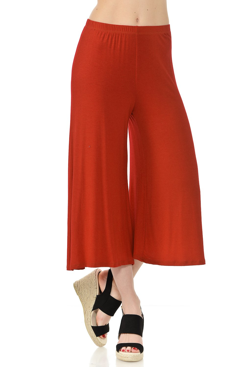 iconic luxe Women's Elastic Waist Jersey Culottes Pants X-Large Rust