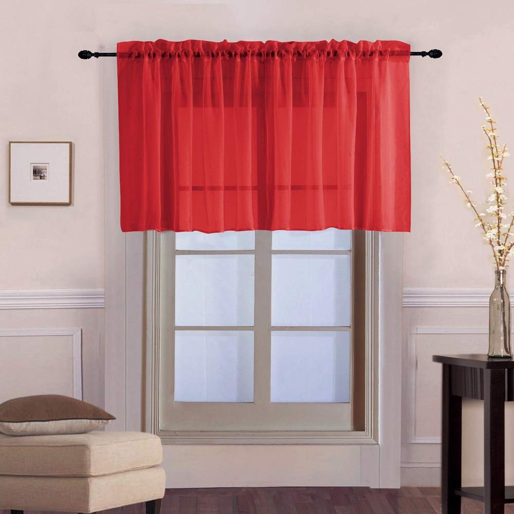 WINYY Solid Color Short Curtain for Kitchen Sheer Red Curtain Valance for Small Window Rod Pocket Top Voile (1 Piece, 39'' W x 20'' L)