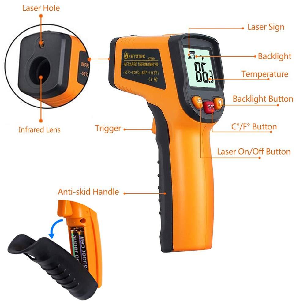 Ketotek Infrarot Thermometer Laser Digital Ir Thermometer Pyrometer Lebensmittel Berührungslos Thermometer Pistole 50 600 58 1112 F Thermometer Temperaturprüfgerät Gelb Gewerbe Industrie Wissenschaft