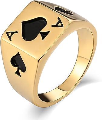Beydodo Herren Edelstahl Ring Rechteck Poker Pik A Vintage